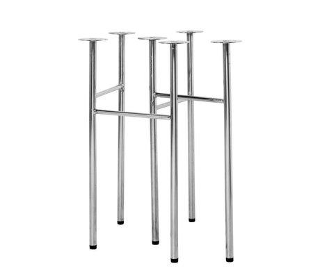 Ferm Living Pieds de table Mingle W48 en métal chromé, ensemble de 2