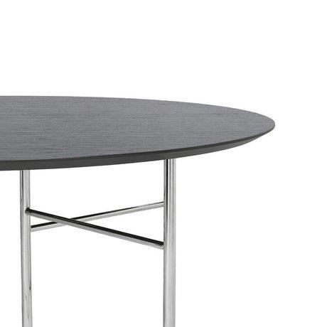 Ferm Living Linge de table rond en linoléum bois noir Ø130x2,5cm