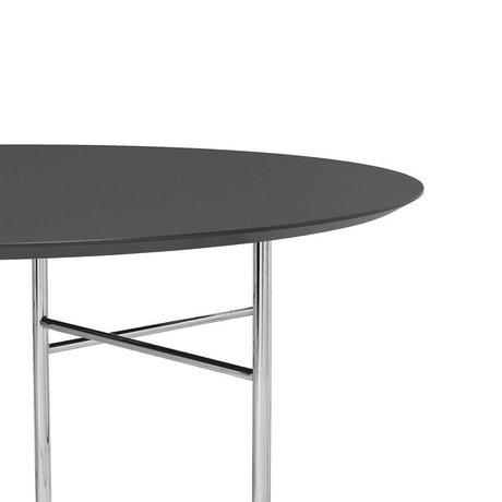 Ferm Living Tischplatte Mingle Round dunkelgrau Holz Linoleum Ø130x2,5cm