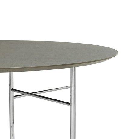 Ferm Living Tischplatte Mingle Round graugrünes Holz Linoleum Ø130x2,5cm