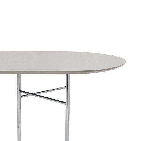 Ferm Living Tischplatte Mingle Oval 150cm hellgraues Holz Linoleum 150x75x2,5cm