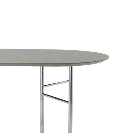 Ferm Living Tischplatte Mingle Oval 150cm graugrünes Holz Linoleum 150x75x2,5cm
