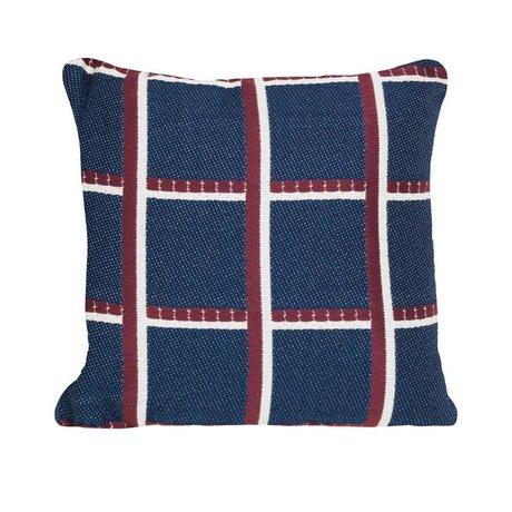 Ferm Living Coussin à carreaux bleu rouge textile 40x40cm