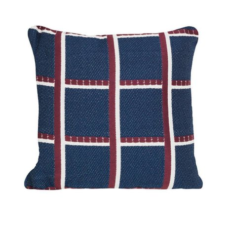 Ferm Living Throw pillow Checked blue red textile 40x40cm