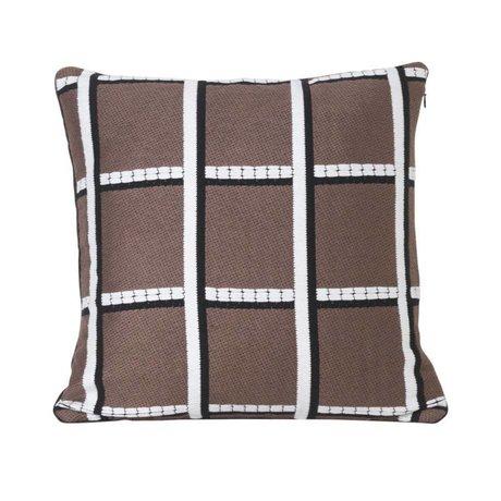 Ferm Living Coussin à carreaux textile taupe 40x40cm