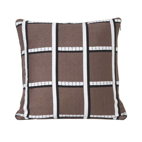 Ferm Living Throw pillow Checked taupe textile 40x40cm
