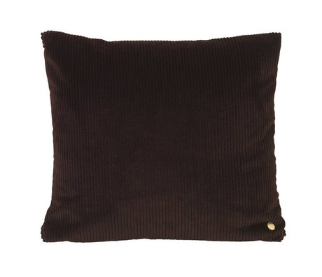Ferm Living Throw pillow Corduroy chocolate brown textile 45x45cm