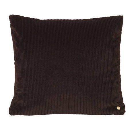Ferm Living Dekokissen Cordschokoladenbraun Textil 45x45cm