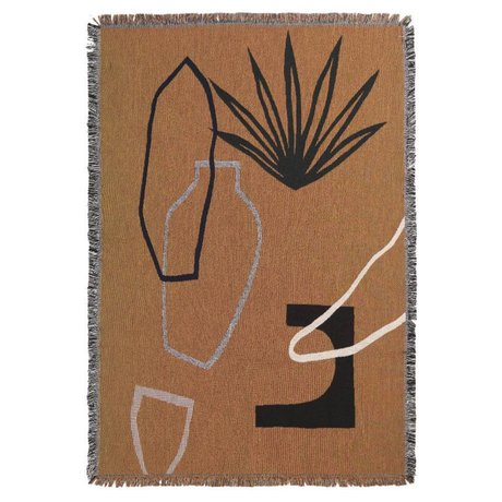 Ferm Living Plaid Mirage senfgelb mehrfarbige Baumwolle 120x170cm