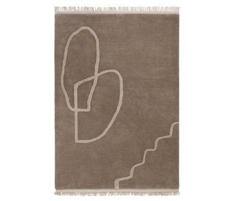 Ferm Living Tapis Desert tufté sable brun textile 140x200cm