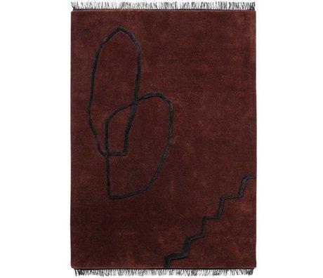 Ferm Living Rug Desert Tufted red black textile 200x300cm