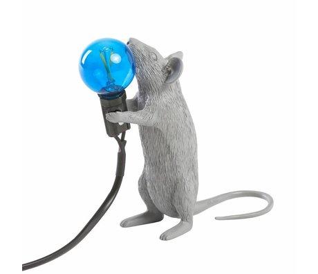 Seletti Lámpara de mesa ratón gris plástico 6x13,3x14,5cm