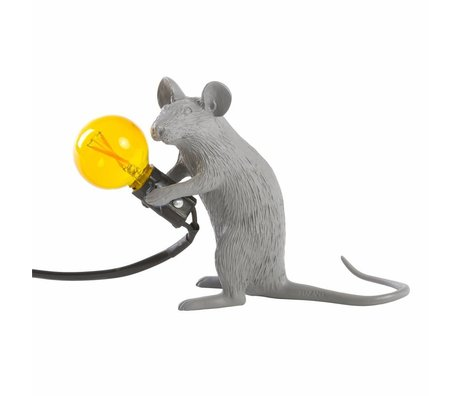 Seletti Lampada da tavolo mouse grigio plastica 5x15x12,5cm