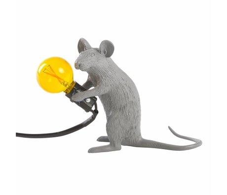 Seletti Lámpara de mesa ratón gris plástico 5x15x12,5cm