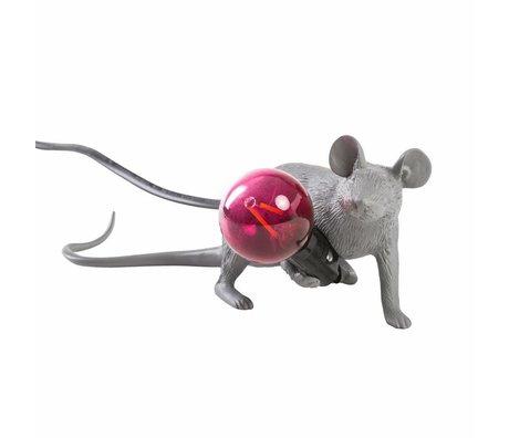 Seletti Lámpara de mesa ratón gris plástico 6,2x21x8,1cm