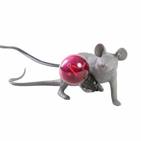 Seletti Lampe de table souris gris en plastique 6,2x21x8,1cm
