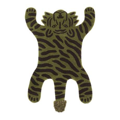 Ferm Living Tapis Safari TIGER en coton vert 160x118x2cm