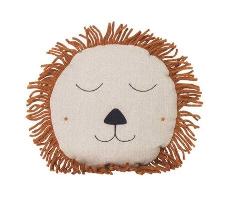 Ferm Living Cushion Safari Lion natural linen wool 35cm