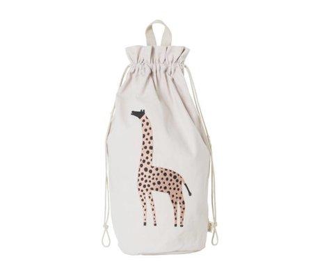Ferm Living Sac de rangement safari en toile de coton girafe 24x50cm