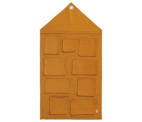 Ferm Living Sac de rangement Maison Moutarde Coton 50x98cm