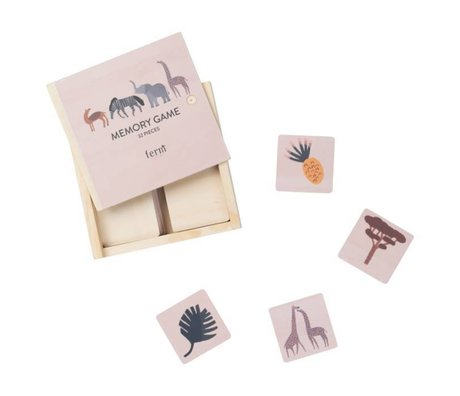 Ferm Living Memory game Safari plywood 12x12x4cm