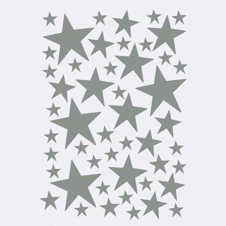 Ferm Living Sticker mural Mini Stars gris 49 pièces