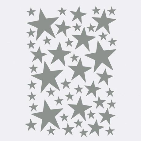 Ferm Living Wall sticker Mini Stars gray 49 pieces