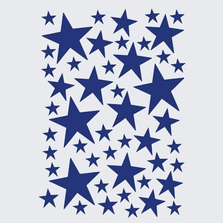 Ferm Living Wall Mural Mini Stars blue 49 pieces