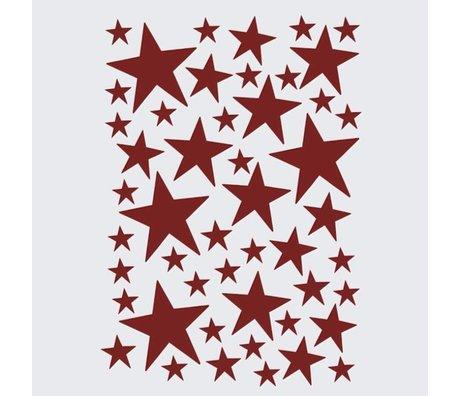Ferm Living Wandsticker Mini Stars rot 49 Stück