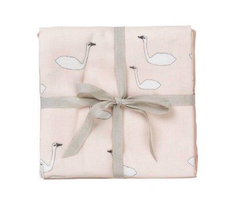 Ferm Living Hydrophiler Stoff Musselin Quadrate Schwan rosa Baumwolle 70x70cm Satz von 3 Stück