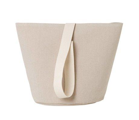 Ferm Living Panier à linge Chambray moyen coton beige Ø35x42cm