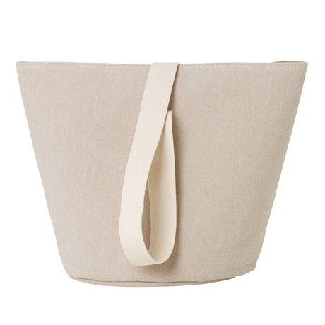 Ferm Living Wäschekorb Chambray medium beige Baumwolle Ø35x42cm