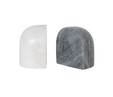 Ferm Living Bookend Luru black white marble set of 2 11x8x12cm