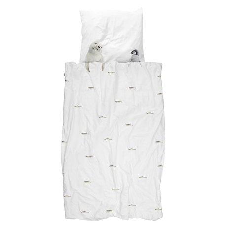 Snurk Ropa de cama Artic amigos, franela blanca 140x200 / 220cm + 60x70cm