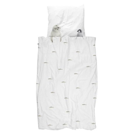 Snurk Sengelinned Artic venner hvid flannel 140x200 / 220cm + 60x70cm