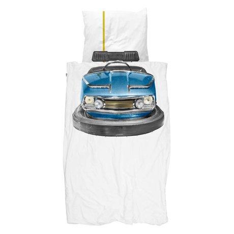 Snurk Housse de couette auto tamponneuse bleu coton blanc 140x200 / 220cm + 60x70cm