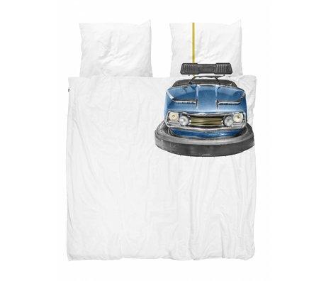 Snurk Duvet cover bumper car blue white cotton 200x200 / 220cm + 2 / 60x70cm