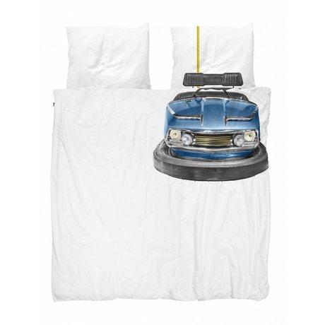 Snurk Housse de couette auto tamponneuse bleu blanc en coton 240x200 / 220cm + 2 / 60x70cm