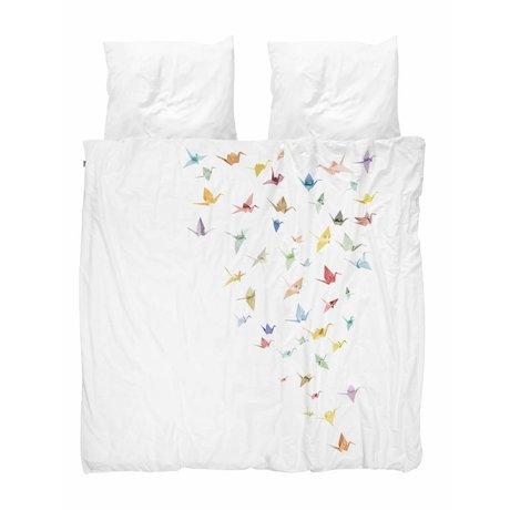 Snurk Literie grue oiseaux blanc coton 260x200 / 220cm + 2 / 60x70cm