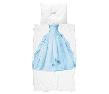 Snurk Draps Princesse Bleu bleu coton blanc 140x200 / 220cm + 60x70cm