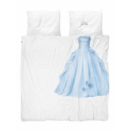 Snurk Draps Princesse Bleu bleu coton blanc 200x200 / 220cm + 2 / 60x70cm