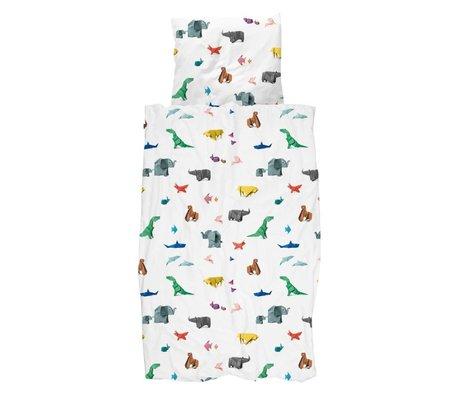 Snurk Copripiumino carta da zoo multicolore in cotone 140x200 / 220cm + 60x70cm