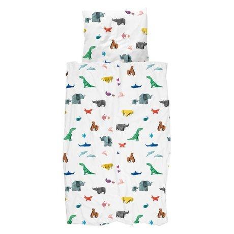 Snurk Bettbezug Papier Zoo mehrfarbig Baumwolle 140x200/220cm + 60x70cm
