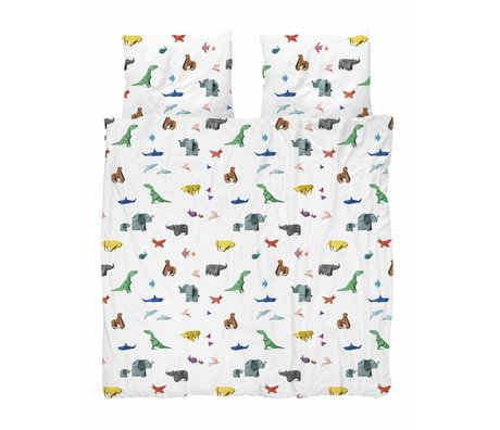 Snurk Bettbezug Papier Zoo mehrfarbig Baumwolle 200x200/220cm + 2/60x70cm