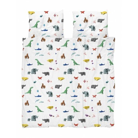Snurk Copripiumino in carta da zoo multicolore in cotone 200x200 / 220cm + 2 / 60x70cm