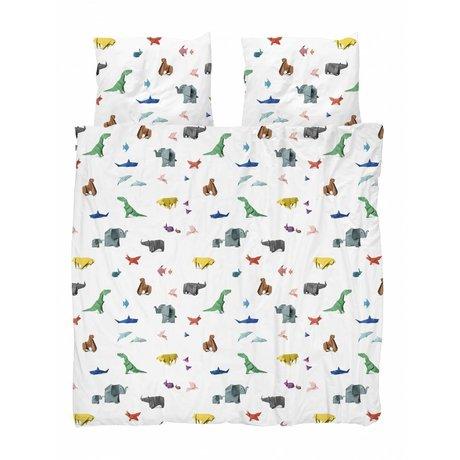 Snurk Housse de couette papier zoo multicolore coton 200x200 / 220cm + 2 / 60x70cm