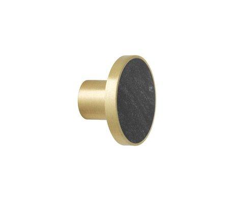 Ferm Living Wandhaken Marmor schwarzer Goldmarmor Ø4x2,5cm