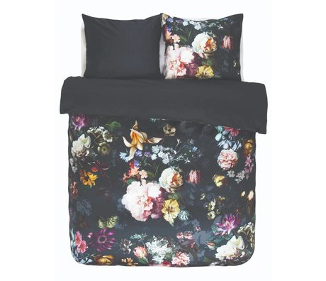 ESSENZA Ropa de cama Fleur noche azul azul algodón satinado 260x220 + 2 / 60x70cm