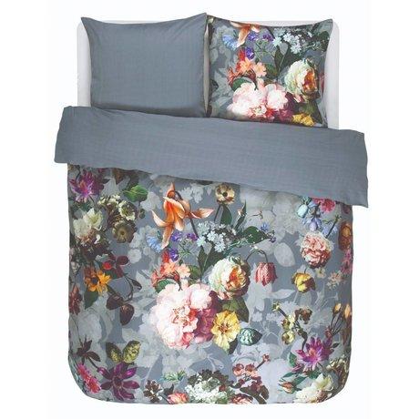 ESSENZA Copripiumino Fleur raso di cotone blu sbiadito 260x220 + 2 / 60x70cm