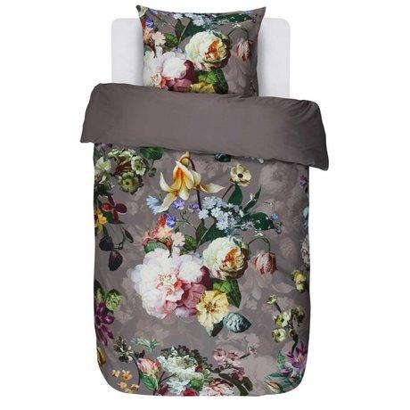 ESSENZA Bed linen Fleur taupe brown cotton satin 140x220 + 60x70cm